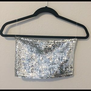 Tops - Silver Sequin Crop Top Bandeau M